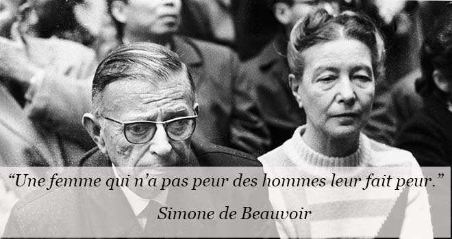 French philospher and writer (L-R) Jean-Paul Sartre (1905 - 1980) and feminist writer and philosopher Simone de Beauvoir (1908 - 1986) sit together at a public event, circa 1970s. (Photo by RDA/Archive France/Getty Images)